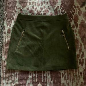 Army green mini skirt